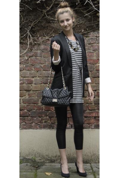 black H&M blazer - gray Mango dress - black H&M leggings - black Dunnes Store ba