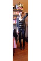 black Mango top - gray Massimo Dutti cardigan - blue Newlook jeans - gray NafNaf