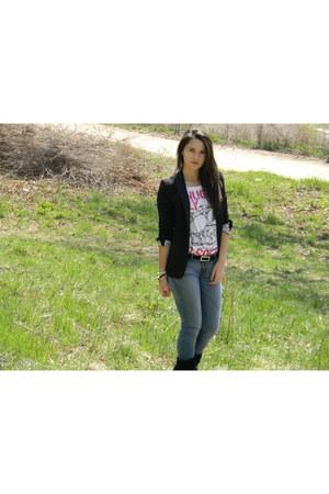 BSB t-shirt - Some random shop boots - Zara jeans - Zara blazer