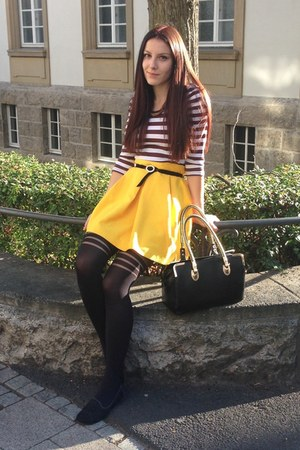 black H&M socks - yellow H&M skirt - white blouse