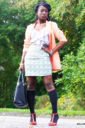 sky blue tailor made skirt - peach thrifted blazer - silver JCP shirt