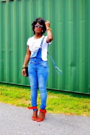 blue overalls jeans - white Disney t-shirt - red Zara heels