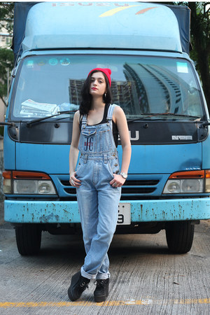sky blue dungarees thrifted vintage jeans