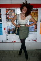 vintage skirt - Marks and Spencers shirt - vintage purse - made it myself neckla
