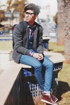 zara shirt - pull and bear shoes - getwearcom jeans - black hershel bag