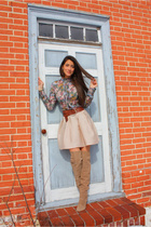 blue floral Zara blouse - beige Zara boots - pink Urban Outfitters skirt