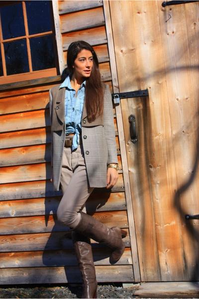 brown Miss Sixty boots - beige Zara pants - brown H&M coat - blue Banana Repubil