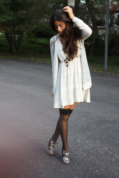 Bensoni dress - Jcrew sweater - Chanel necklace - American Apparel socks - Dolce