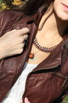 Forever 21 jacket - BCBG necklace - flea market necklace - shimmer and stone nec