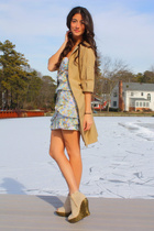beige Zara coat - blue cynthia steffe dress - beige Jeffrey Campbell shoes