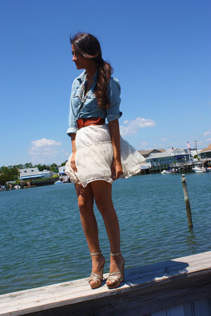 blue top - gold Miu Miu shoes - white skirt - brown Anthropologie belt
