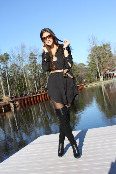 black Zara dress - brown BCBG belt - black Victorias Secret boots - black la mer
