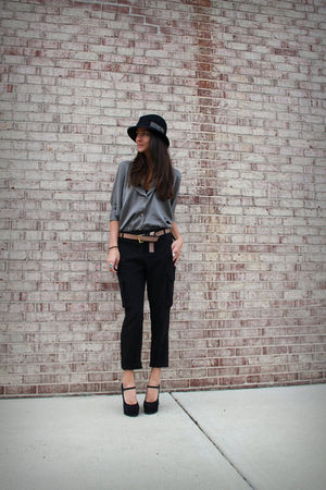 gray Myne top - black Forever 21 shoes - black NY & Company pants