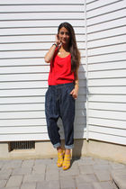 red cynthia steffe top - blue Zara pants