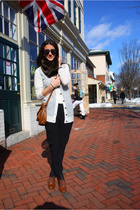 black New York and Company pants - brown H&M shoes - beige J Crew sweater - brow