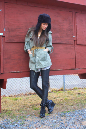 green Ann Taylor Loft jacket - black sass & bide leggings - black Forever 21 boo