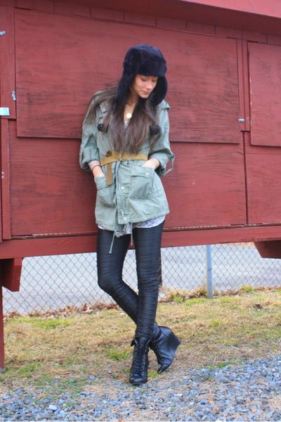 green Ann Taylor Loft jacket - black sass & bide leggings - black Forever 21 boo
