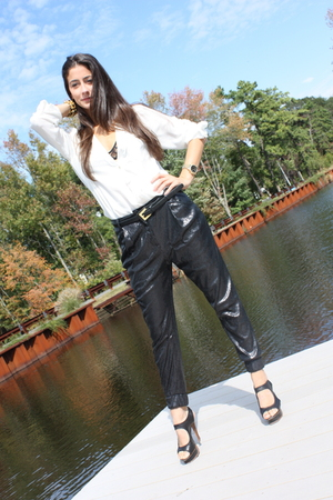 black Zara pants - black YSL shoes - black Zara belt