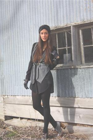 black Zara dress - gray Zara vest - gold Dolce & Gabbana shoes - black H&M - bla