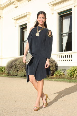 gold lia sophia necklace - gold Bruno Frisoni shoes - gray VANESSA BRUNO dress