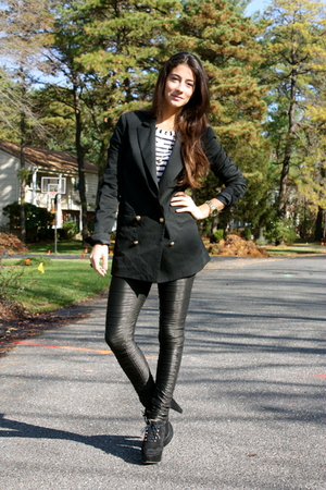 blazer - top - leggings - shoes
