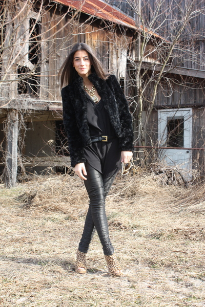 black Zara dress - black H&M jacket - brown Jeffrey Campbell shoes - black Zara