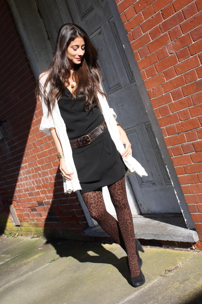 brown animal print LF Store tights - black Marc Jacobs shoes - black Zara dress