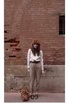 black Repetto shoes - white Home made  sweater - brown Zara belt - orange vintag