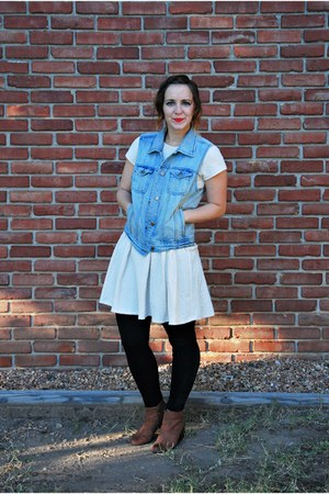 light blue denim vest Forever 21 vest - tawny ankle boots Target boots