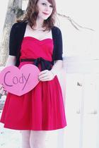 pink dress - black cardigan - pink bracelet
