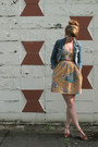 Mustard-buffalo-exchange-dress-sky-blue-h-m-jacket-brown-vintage-wedges