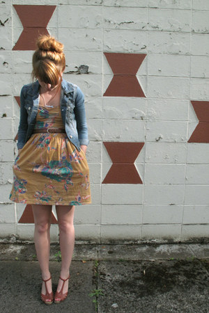 mustard Buffalo Exchange dress - sky blue H&amp;M jacket - brown vintage wedges