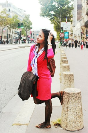 hot pink dress - hot pink H&M dress - dark brown H&M coat - brown flats