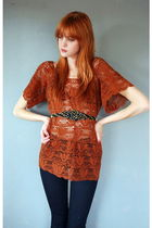 Orange-leather-lace-and-velvet-vintage-dress-blue-j-brand-jeans-black-leathe