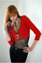 Red-leather-lace-and-velvet-vintage-jacket-black-american-apparel-top-blue-b