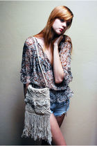 brown Forever 21 blouse - blue vintage shorts - beige Leather Lace And Velvet ac