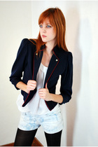 Blue-leather-lace-and-velvet-vintage-blazer-white-h-m-top-blue-f21-shorts