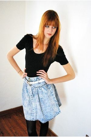 black American Apparel top - blue Leather Lace And Velvet Vintage skirt - black