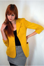 Gold-leather-lace-and-velvet-vintage-blazer-black-american-apparel-top-gray-