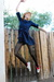 blue Leather Lace And Velvet Vintage dress - white Converse shoes - black tights
