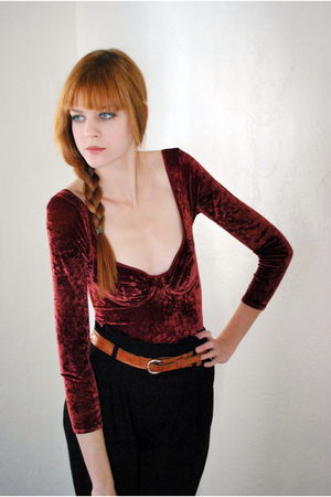 red bodysuit Leather Lace And Velvet Vintage top