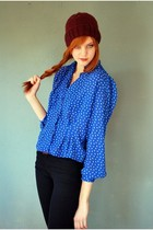 Blue-leather-lace-and-velvet-vintage-top-blue-j-brand-jeans-red-made-by-bffs