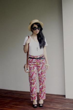 hot pink floral print vintage pants - light yellow thrifted hat