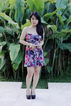 hot pink dress - black Forever 21 heels - gold Forever 21 heels