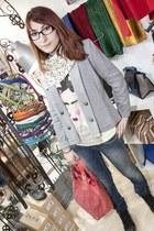 silver DDP blazer - navy Freesoul jeans - ivory Restored shirt - red bag