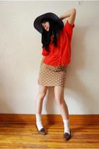 tan vintage skirt - navy ardenes hat - white winners socks - red vintage blouse