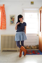 vintage boots - Forever 21 dress - Urban Outfitters tights - vintage skirt - YeY