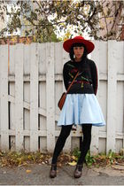 red vintage hat - vintage sweater - vintage skirt - vintage bag - Forever 21 sho