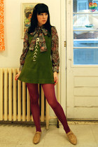 nude Forever 21 shoes - vintage dress - H&M tights - vintage blouse - berets vin