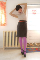 platforms Forever 21 shoes - lilac HUE tights - H&M blouse - filipa k skirt - Ye
